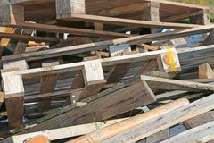 Wooden pallets highly flammable. Pile of wooden pallets highly flammable Stock Image
