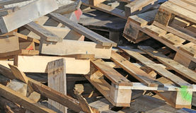 Wooden pallets highly flammable. Pile of wooden pallets highly flammable Royalty Free Stock Photography