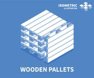 Wooden pallets icon. Isometric template for web design in flat 3D style. Vector illustration vector illustration