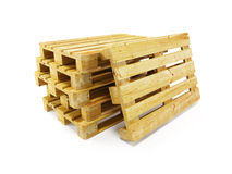 Wooden pallets, isolated on white Stock Photos