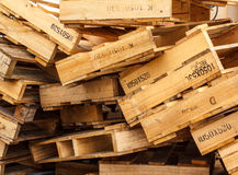 Wooden pallets placed Royalty Free Stock Photo