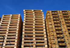 wooden pallets placed in warehouse coutyard Royalty Free Stock Photos