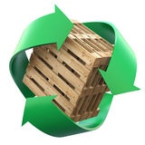 Wooden pallets with recycling symbol Stock Images