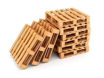 Wooden pallets stack Stock Photo