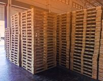 Wooden pallets stack in warehouse cargo storage, shipment in logistics and transportation industrial, wood pallets heap, delivery