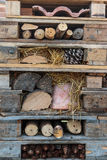 Wooden Pallets Stacks with Branch, Chestnut and Pine Cone.  Royalty Free Stock Photos