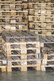 Wooden pallets. Stacks of wooden euro pallets Stock Photography