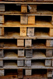 Wooden pallets. Stacks of wooden pallets for industrial deposits Stock Photos