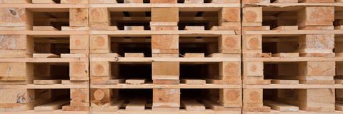 Wooden pallets in stock Royalty Free Stock Photos