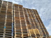 Wooden pallets stored Stock Photos