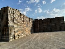Wooden pallets stored. Wooden pallets in a row, stored for logistics industry Stock Image