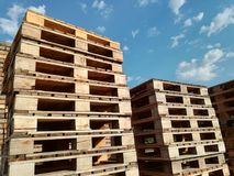 Wooden pallets stored Stock Image