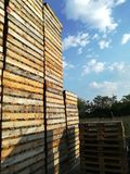 Wooden pallets stored Royalty Free Stock Photos