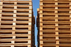 Wooden pallets up to sky Royalty Free Stock Photography