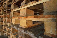 Wooden pallets. wood texture. Pallets stacked in piles.  Royalty Free Stock Image