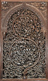 Wooden panel. An  intricately carved 17th century wooden panel displayed  at City Palace Jaipur India Stock Photography