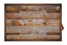 Wooden panel with forgings. Stock Photos