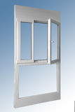 Wooden panel one door double window in combination with aluminum. View on inside Stock Images