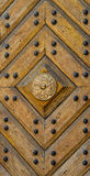 Wooden panel texture with pattern and studs Royalty Free Stock Images