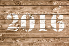 2016 on wooden panel Royalty Free Stock Photo