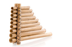 Wooden panpipes stock photo