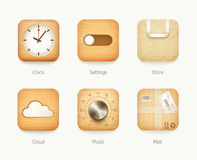 Wooden and paper icons app set Stock Images