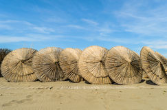 Wooden parasols Stock Photography