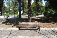 Wooden Park bench Stock Images