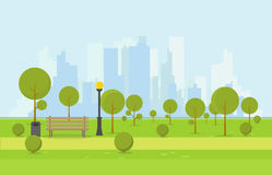 Wooden park bench. City park wooden bench, lawn and trees, trash can. Flat style illustration. On background business city center with skyscrapers and large Royalty Free Stock Photography
