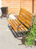 Wooden park bench in the garden Stock Photography