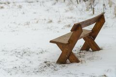 Free Wooden Park Bench In Winter Royalty Free Stock Photography - 178767707