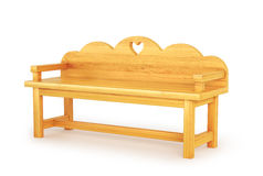 Wooden Park Bench Isolated on White Background. 3d illustration Stock Photography