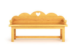 Wooden Park Bench Isolated on White Background. 3d illustration Royalty Free Stock Photos