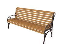 Wooden Park Bench Isolated. On white background. 3D render Royalty Free Stock Photography