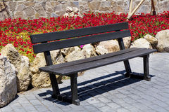 Wooden park bench outdoor Stock Images