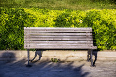 Wooden park bench outdoor Royalty Free Stock Photography