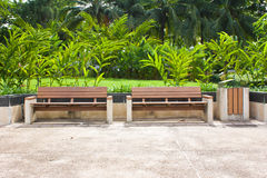 Wooden park bench with Planter in Summer. Stock Photos