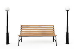 Wooden Park Bench with Street Lamps Royalty Free Stock Photos