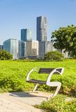 Wooden park bench at sunrise in a park with a cityscape background royalty free stock photos