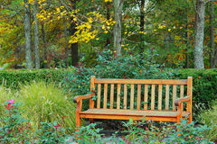 Park Bench. A wooden park bench surrounded by trees and flowers Royalty Free Stock Image