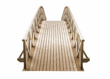 wooden Park foot bridge isolated on white background Stock Images