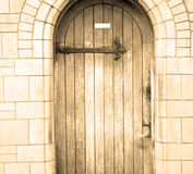 Wooden parliament in    london old church door and marble antique Royalty Free Stock Photography