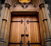 Wooden     parliament in london old church door and marble antique Stock Photo