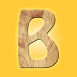 Wooden parquet alphabet letter symbol -B. Isolated on white background Royalty Free Stock Image