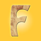 Wooden parquet alphabet letter symbol - F. Isolated on white background Royalty Free Stock Image