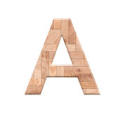 Wooden parquet alphabet letter symbol - A. Isolated on white Stock Photo