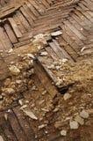 Wooden parquet floor crumbled Stock Image