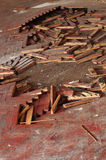 Wooden parquet floor red crumbled Stock Images