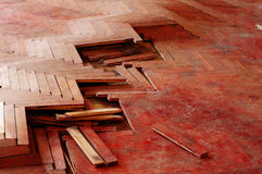 Wooden parquet floor red Stock Photography