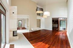 Wooden parquet in luxury interior Stock Image